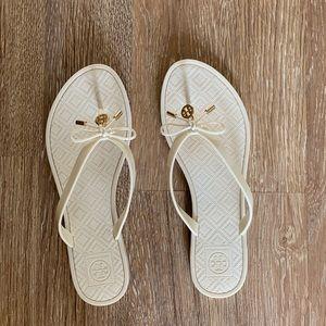 Tory Burch White Flip Flops